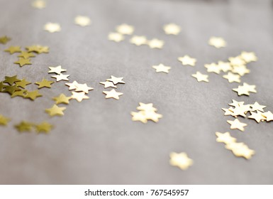 Bright stars on vintage paper Concept of holidays Selective focus