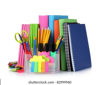bright stationery and books isolated on white