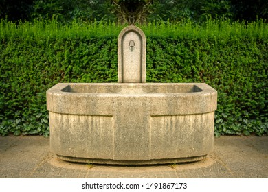 Bright stone fountain in front of a green hedge