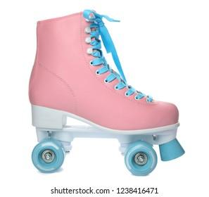 Bright stylish roller skate on white background