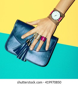 Bright Summer Fashion Accessories Ladies. Stylish Clutch and Jewelery.