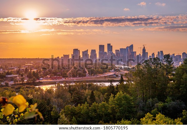 Bright summer sunrise over downtown Calgary