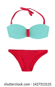 Bright summer two-piece swimsuit isolated on white background. Blue and red bikini for beach