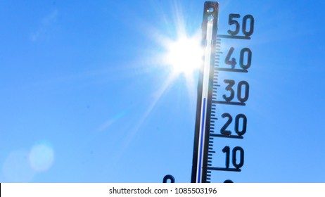 bright sun with thermometer. Summer background