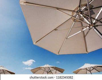 Bright sun umbrellas on the beach