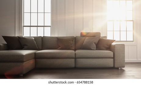 Bright sunlight flooding a simple living room interior with minimalist decor of a large comfortable sofa in front of two windows. 3d rendering