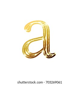 Bright sunlit vintage worn ink stamped style lowercase or small letter A in a 3D illustration with a shiny sun light effect and classic font isolated on a white background with clipping path.