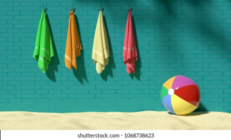 Bright, sunny, relaxing day on a sandy beach, four colorful fluffy towels hanging on the turquoise brick-like wall with a beach ball on sand, symbolizes vacations, holidays, relaxation, playfulness.
