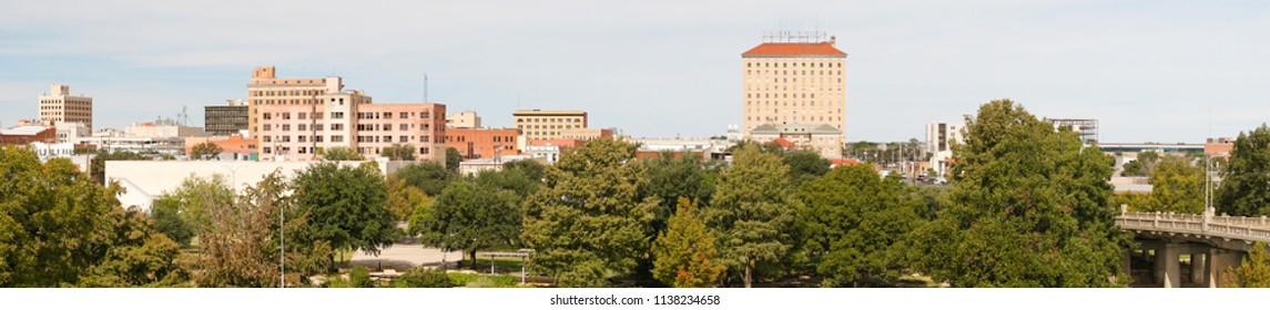 A bright sunny summer day over the urban center of San Angelo in West Texas USA