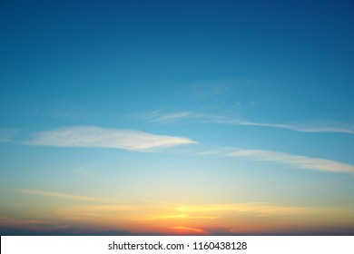 Bright sunset against blue sky and clouds