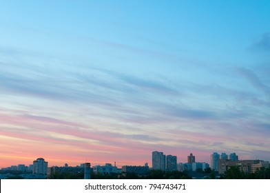 Bright sunset over skyline. Moscow, Russia.