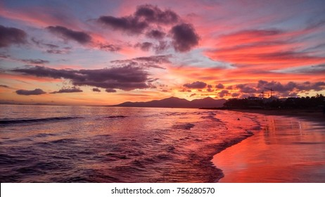 Bright sunset in Puerto del Carmen on Lanzarote Canary island in Spain