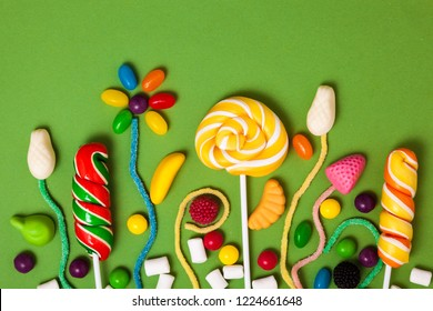 bright sweets on a colored background