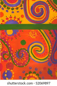 Bright swirls, dots and shapes on a yellow and orange background.