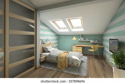 Bright Teenager's Room On Attic 3d Rendering
