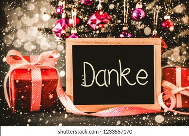 Bright Tree, Presents, Calligraphy Danke Means Thank You