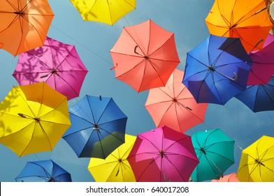 Bright umbrella sky background