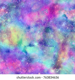 Bright Unicorn Night Galaxy Print  Seamless Pattern in Repeat