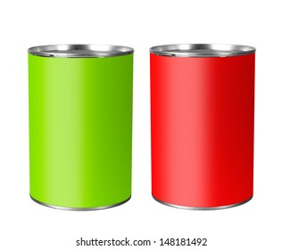 Bright unopened tin cans, isolated on white background