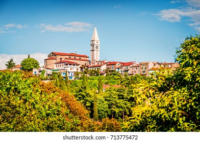 Bright view of small town Vrsar (Orsera) and St. Martin Catholic Church. Colorful spring cityscape of  Croatia, Europe. Traveling concept background. Magnificent Mediterranean landscape.