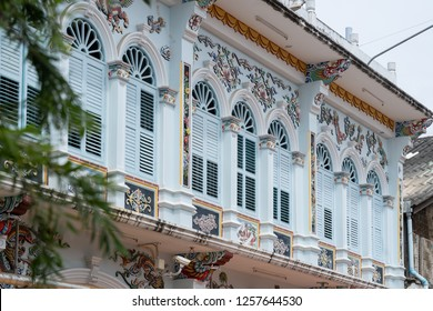 Bright vintage Sino-Portuguese Architecture of many the buildings in Phuket town.