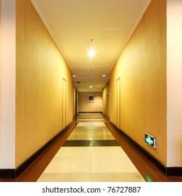 a bright and warm corridor in the hotel