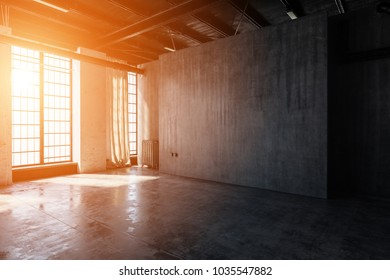 Bright, warm light streaming through windows into an empty, abandoned warehouse room. 3d Rendering