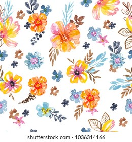 Bright watercolor floral print,  seamless background