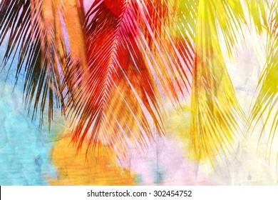 Bright watercolor retro palm leaf