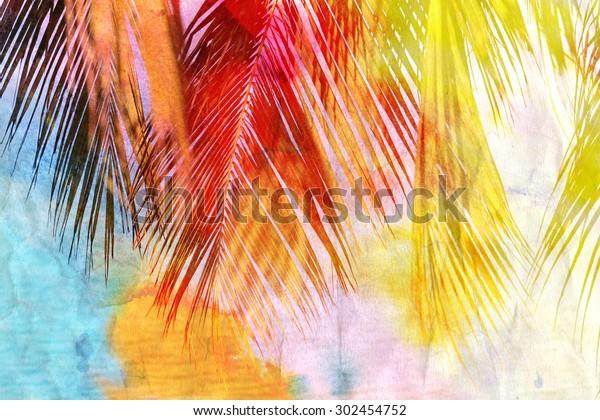 Bright watercolor retro palm leaf