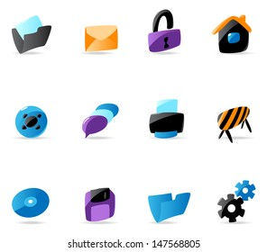 Bright website and interface icons. Raster version. Vector version is also available.