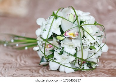 bright wedding bouquet of summer white pink flowers