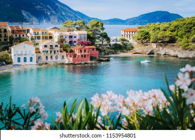 Bright white flower blossom in front of turquoise colored bay in Mediterranean sea and beautiful colorful houses in Assos village in Kefalonia, Greece
