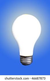 Bright White Incandescent Lightbulb shining brightly.
