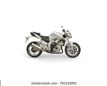 Bright white modern sports motorcycle - side view - 3D Illustration