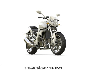 Bright white modern sports motorcycle - 3D Illustration