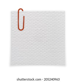 Bright white paper blank with red paper clip on white background.