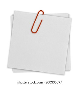Bright white paper note with red clip on white background.