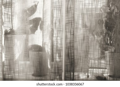 Bright window in summer with plants and pots behind a sheer linen curtain, textured in black and white tones for a nostalgic feeling.