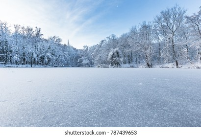 Bright winter scene of frozen pond and trees covered in snow in United Kingdom