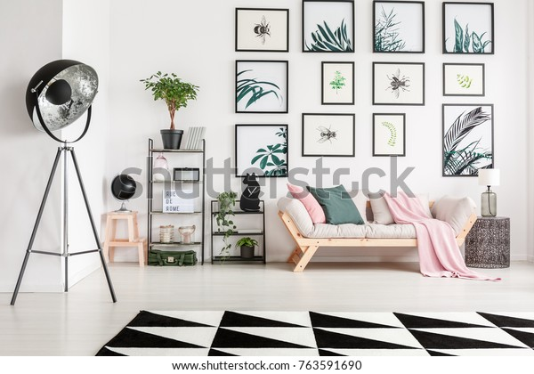 Stupendous Bright Wooden Couch Pillows Pink Blanket Stock Photo Edit Unemploymentrelief Wooden Chair Designs For Living Room Unemploymentrelieforg