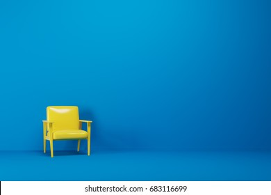 Bright yellow armchair is standing in an empty blue room with a blue floor. Concept of minimalism. 3d rendering mock up