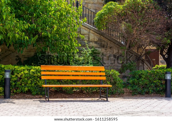 bright-yellow-bench-independence-gardens