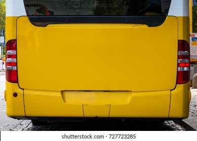 Bright Yellow Bus Behind Empty Mockup Advertising Space Public Transportation Vehicle Close Up