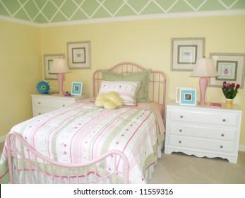 Bright yellow children's bedroom