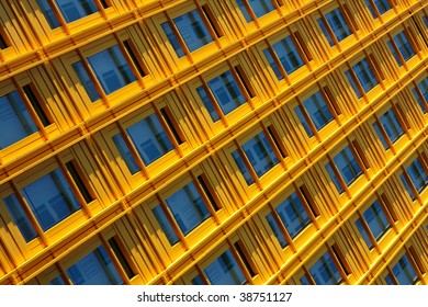 A bright yellow colored building and windows