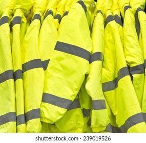 Bright yellow high visibility jackets