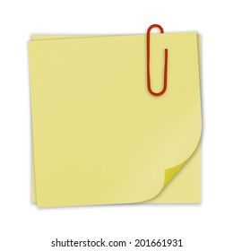 Bright Yellow paper note with red clip on white background.