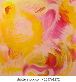 Bright Yellow and Pink Abstract Painting