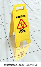 Bright yellow wet floor sign on tiled floor. Pro clipping path.